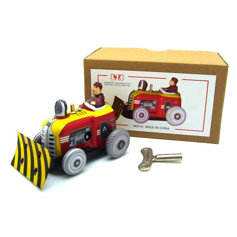 все цены на Classic Vintage Clockwork Bulldozer Nostalgic Wind Up Children Kids Tin Toys With Key Fun Toy Gift For Children