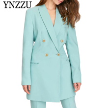 YNZZU Elegant Solid New Womens blazer 2019 Autumn Long sleeve loose Double breasted Ladies suit Chic female dress YO868