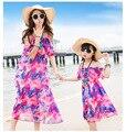 2017 Семья установлены летние каникулы пляж повседневный пляж платье мать дочь платья фес семьи сопоставления одежда
