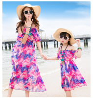 2016 Family Fitted Summer Holiday Beach Casual Beach Dress Mother Daughter Dresses Thes Family Matching Clothes