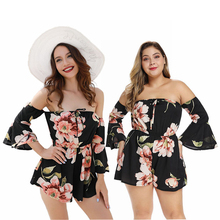 summer new large size women playsuits off the shoulder rompers trumpet sleeves floral print short bodysuits big girl 81081 black lace details off the shoulder short sleeves bodysuits