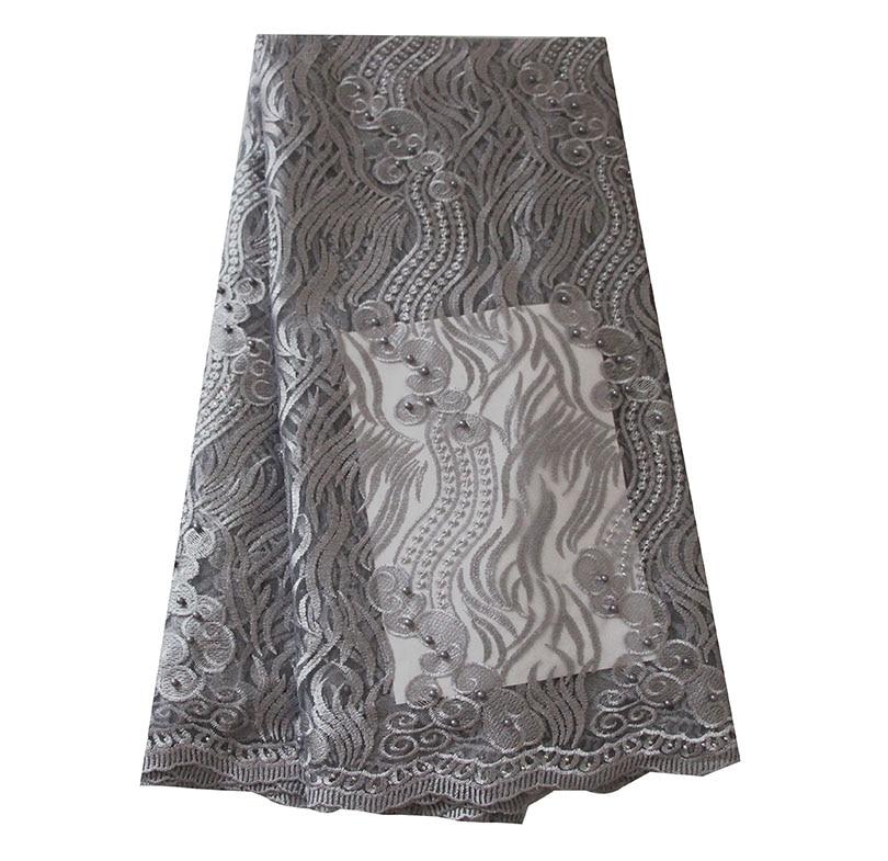 Ourwin liquidation vente Tulle Net dentelle tissu avec perles Aqua africain dentelle tissu de haute qualité Guipure dentelle tissus Orange - 5