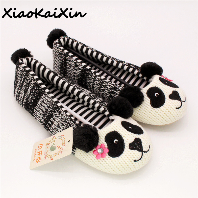 Ladies Ballet Style House Slippers Winter Women Warm Soft Cotton Home Shoes Cute Panda Style Flower Plush Yoga Dance Shoes Flats fashion womens shoes warm winter cotton shoes tennis feminino casual girl shoes comfortable ladies flats long plush women flats