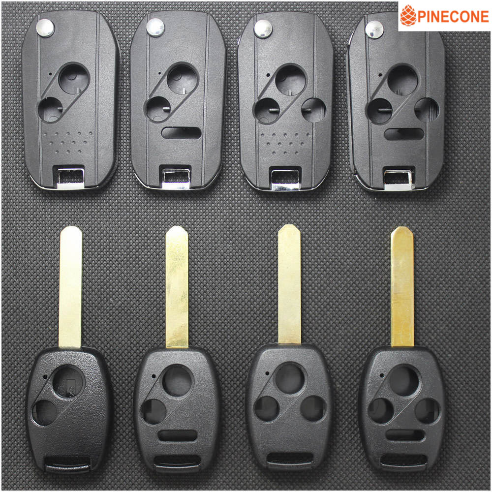 PINECONE For HONDA ACCORD CRV PILOT CIVIC 2003 2007 2008 2009 2010 2011 2012 2013 Modified& Replace Key Shell Case With LOGO