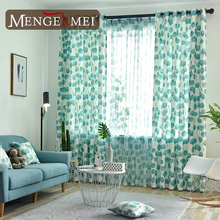Leave Curtain For Living Room Free White Blue Tulle Curtains for Bedroom Kids Shading 214