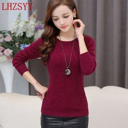 Autumn winter new rhombic pattern cashmere sweater female o collar knit pullover high quality soft loose.jpg 250x250
