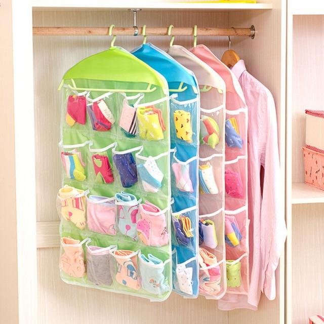 Ordinaire Clear Plastic 16 Pockets Sock Shoe Toy Underwear Jewelry Sorting Storage Bag  Door Wall Hanging Closet