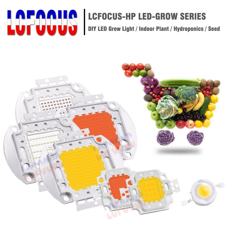 DIY Grow Lights 1W 3W 5W 10W 20W 30W 50W 100W Grow LED Full Spectrum 660nm 440nm For Indoor Hydroponics Tent Plant Growing