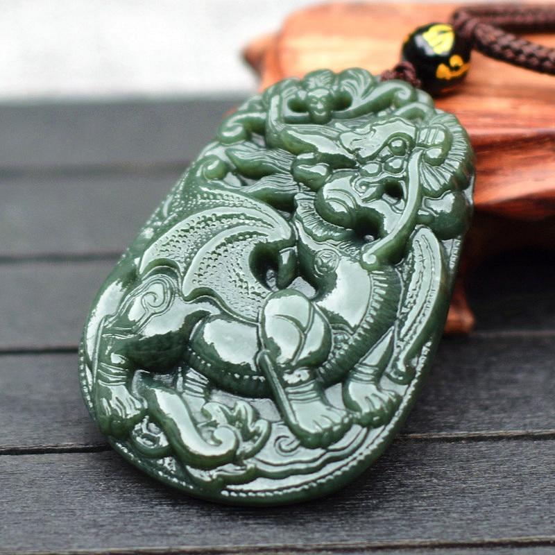 Edler Schmuck Kyszdl Natürliche Hetian Jade Hand-geschnitzten Drachen Acht Trigrams Anhänger Halskette Männer & Frauen Jade Anhänger Schmuck Freies Seil