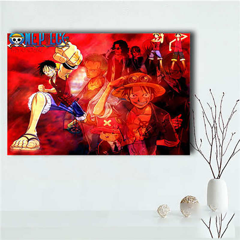 Wall Art Canvas Paintings 1 Pcs One Piece Luffy Pictures Prints Animation Home Decor Poster For Living Room Modular Frame