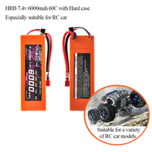 Free shipping to RU 2pcs HRB Lipo 2S 7.4V Battery Hard Case 6000mAh 60C MAX 120C RC Car Orange For Traxxas 1/10 Car Drone