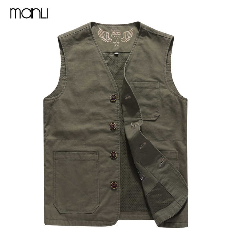 MANLI 2018 Men Hiking Vest Coat Autumn Men's Sleeveless Vest Breathable Photographer Shooting Quick Dry Mesh Waistcoat hombre