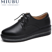 MIUBU 2019 New Women Platform Shoes Woman Genuine Leather Ballet Flats Lace Up Female Casual Heels Oxford Shoes For Women hanbaidi real leather 50 80mm platform oxford women shoes lace up flats top high quality leather casual shoes sneaker women 40