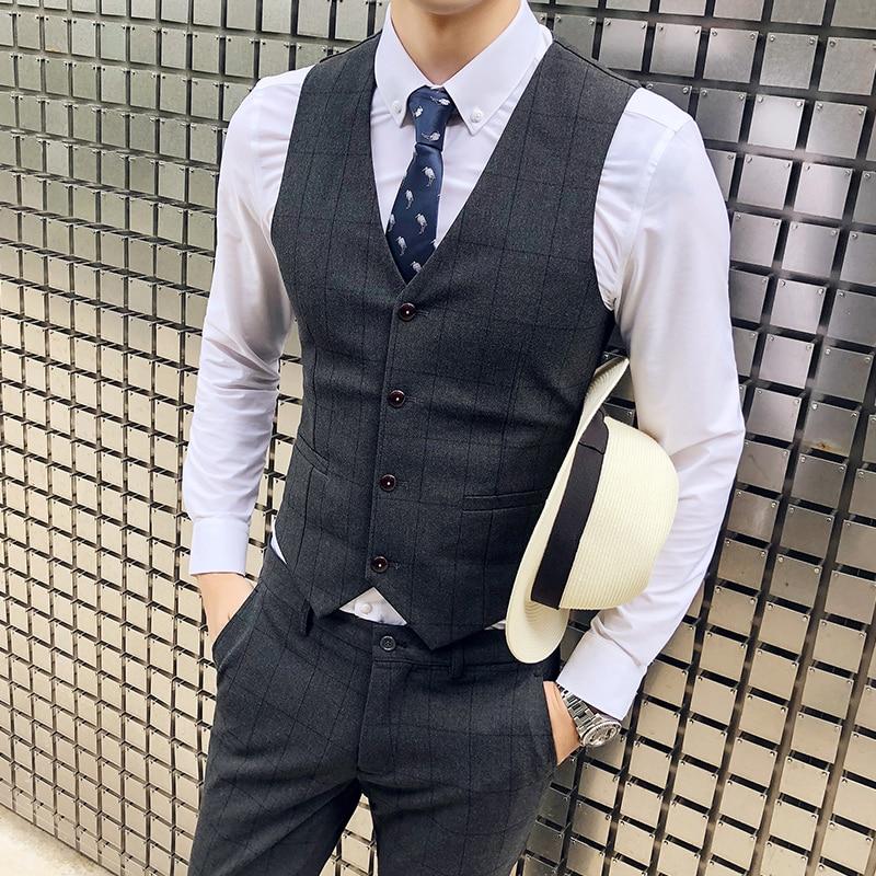 Mannen Plaid Vesten, Zwart, Donkergrijs, slanke Elegante Zakelijke Banket Heren Dress Vest Maat S M XL 4XL Leisure Suit Vest Man