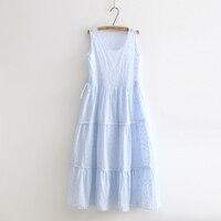 Sweet fresh blue white embroidery sleeveless tank full dress mori girl 2018 summer New