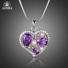 AZORA Purple CZ With Tiny Stellux Austrian Crystal Surround Hear Pendant Necklace for Valentine's Day Gift TN0158