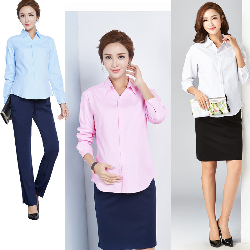 9d7aafc0c63 Pregnant Women s Shirts White Long Sleeves Short Spring and Autumn Clothes  Maternity Clothing Professional Work Clothes-in Blouses   Shirts from  Mother ...
