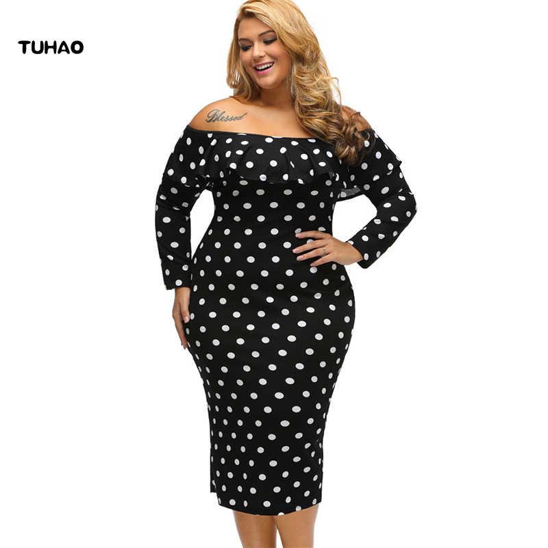 TUHAO 2017 women bandage dress bodycon black white dot print sexy ruffles woman  Dresses of the a19ff97426a9