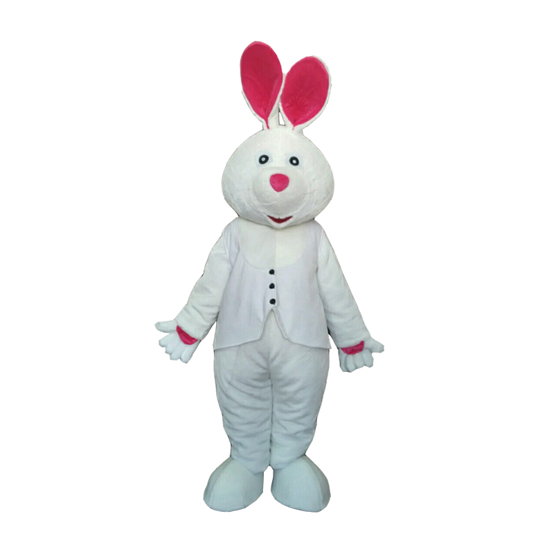 Adult White Rabbit Mascot Costume Carnival Festival Commercial Advertising Party Dress With Fan In Head