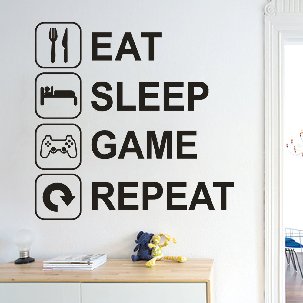 2020 New Fashion Wallpapers Eat Sleep Game Repeat Removable Art Vinyl Mural Home Room Decor Wall Stickers Non-toxic removable(China)