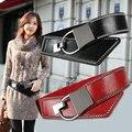 A forma Das Mulheres De Metal Cowskin Fivela do Cinto Elástico Na Cintura, feminino Vestido de Cintos Para As Mulheres Genuíno Couro Rebite Grande Preto Vermelho