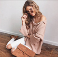 autumn winter slim thick cotton flare sleeve long sleeve one shoulder tie up sweater women female jumper V neck pullover N001