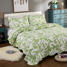 green Nature style Fashion comfort 3pcs 1* bedspread 2 *pillowcases Art quilt 230x250cm size Suitable for spring and summer