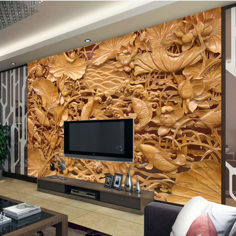 custom 3d photo wallpaper modern simulation wood carvings luxury TV background wall mural for living room bedroom interior walls modern luxury silver 3d striped wallpaper living room tv background wallpaper pvc vinyl wallpaper for walls 3d mural wall paper