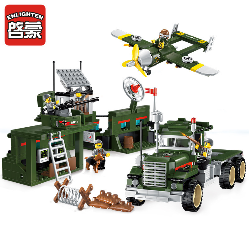 1713 ENLIGHTEN 687Pcs City Military War Mobile Combat Vehicles Building Blocks Classic Figure Toys For Children Compatible Legoe decool 3117 city creator 3 in 1 vacation getaways model building blocks enlighten diy figure toys for children compatible legoe