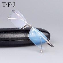 1cadcef739 Tfj puro titanio ojos Gafas los hombres de calidad superior Titanium Gafas  Marcos rimless Marcos óptico Gafas para hombres