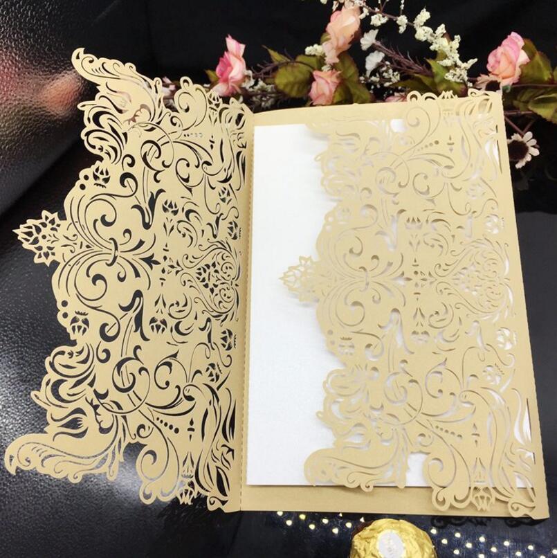 ФОТО 50pcs/pack Laser Cut Hollow Invitations Card Elegant Invitation with Envelopes Birthday Christmas Celebration Wedding Invitation