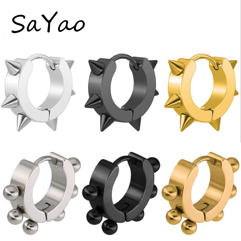 SaYao 2Piece Surgical Stainless Steel Stud huggie Earring Men Boy Punk Spike Ball Ear Tragus Piercing Jewelry Arrow Earrings