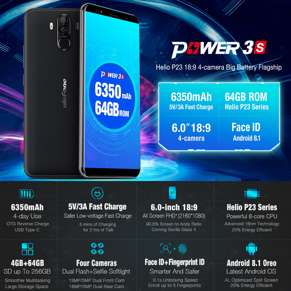 6350mAh 6.0 HD Ulefone Power 3s Smartphone 4G Android 8.1 Octa Core 4GB+64GB Apr18 жилет