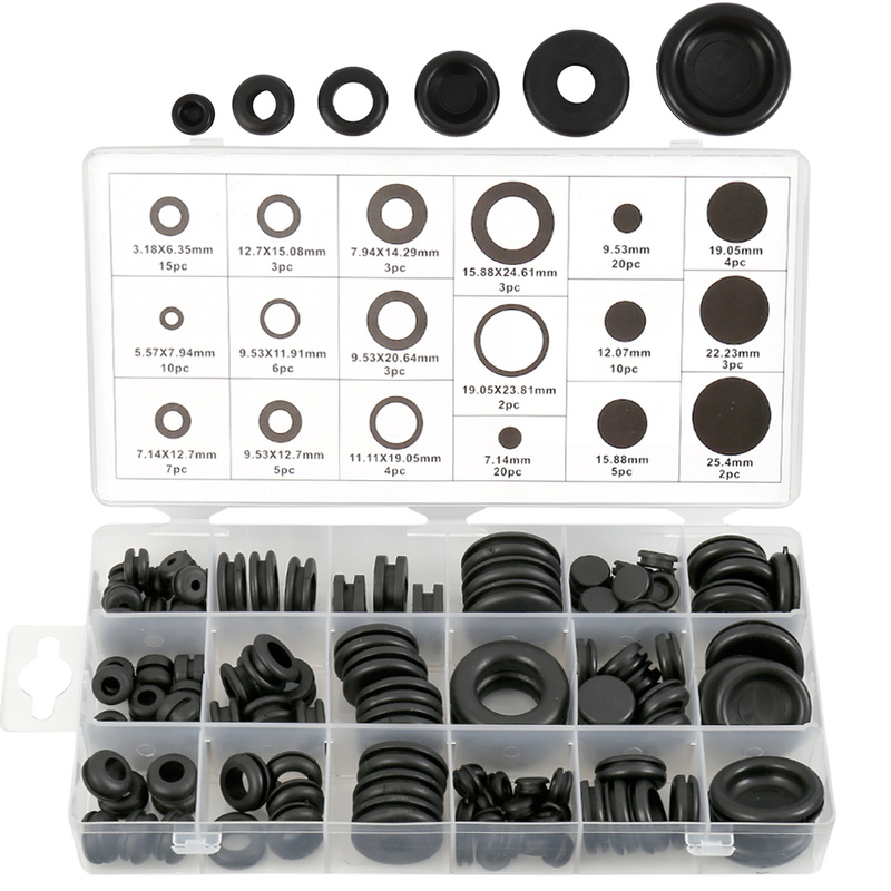 rubber-grommets-set-o-ring-plug-wire-ring-assortment-electrical-wire-gasket-tool-blanking-open-closed-blind-grommet-125-pcs