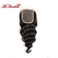 ALI ANNABELLE HAIR Brazilian Loose Wave Lace Closure Free Part Human Hair Closure Swiss Lace 130