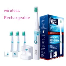 Kemei Rechargeable Ultrasonic Electric Kids Toothbrush with 4 heads Smart Waterproof Oral Hygiene Dental Care BT-184 цена и фото
