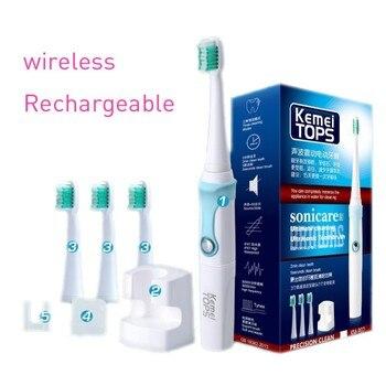 KEMEI cepillo de dientes eléctrico ultrasónico inteligente cepillo de dientes  Tipo de rotación impermeable cuidado Dental de la higiene Oral b pro dientes  ... 026dc1af6bf4