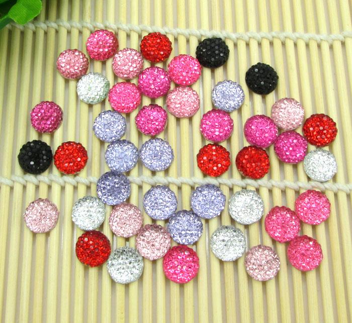 100Pcs Mixed Round Bling Shiny Resin Decoration Crafts Beads Flatback Cabochon Scrapbook DIY Embellishments Accessories