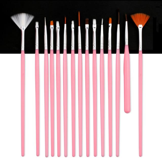 7/15Pcs Plastic Handle Nail Brush Set Design Gel Polish Painting Drawing Acrylic Gel Nail Brushes For Nails Art Manicure Tools 5