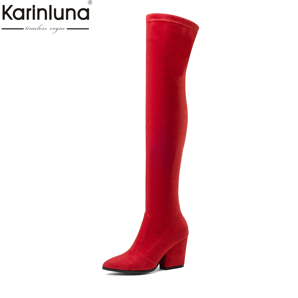 Karinluna 2018 Brand New Fashion Over The Knee Boots female Women Shoes Plus Size 34-43 Casual Slip On Party Riding Boots Woman memunia big size 34 43 over the knee boots for women fashion shoes woman party pu platform boots zip high heels boots female