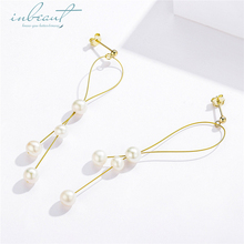 inbeaut Hot Sale 100% 925 Sterling Silver Womens Gold-color Luxury White Pearl Dangle Drop Earrings Korean Fashion Jewelry