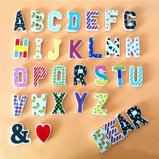 c ramique 26 alphabet lettres r frig rateur aimants stickers muraux r frig rateur autocollants. Black Bedroom Furniture Sets. Home Design Ideas