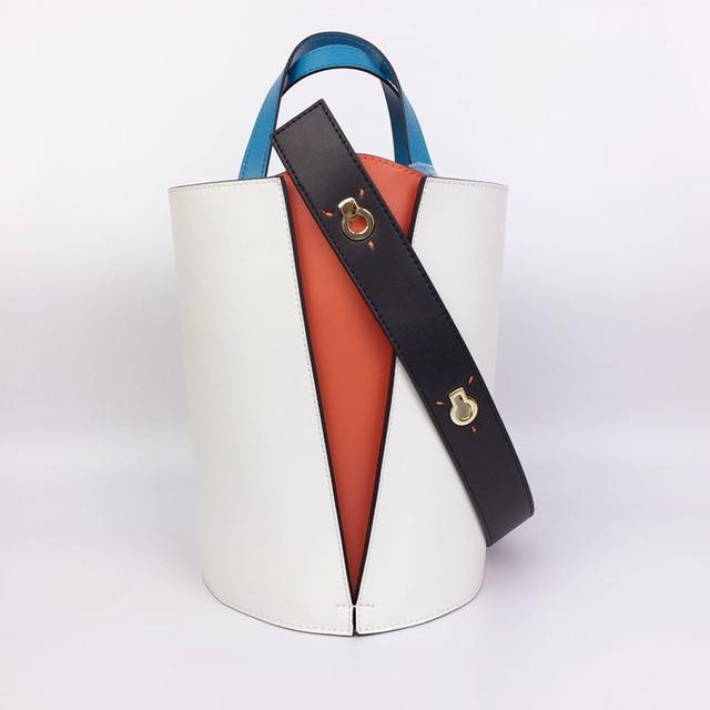 8e083534 Fashion Split Leather Bucket Bag for Female Patchwork Women Handbag  Contrast Color Bag