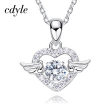 Cdyle Dancing Stone Necklace Women Pendants Austrian Rhinestone Charm 925 Sterling Silver Jewelry Fashion Angel Wings Chic(China)