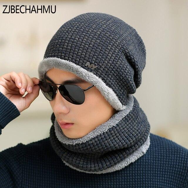 Moda sombreros de invierno Skullies gorros sombrero de invierno gorros para  hombres mujeres lana bufanda Balaclava 2bc80a494dfa