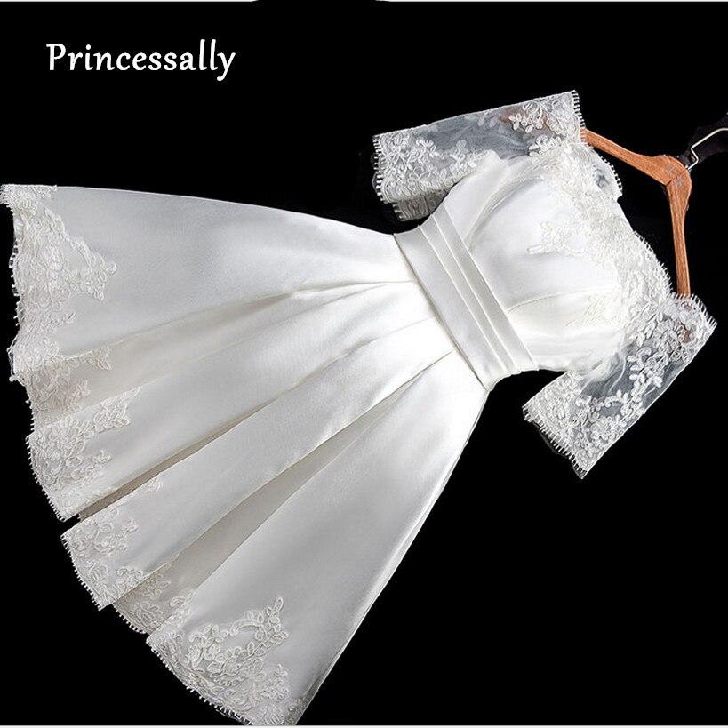 R1933 20 De Descontovestido De Noiva Curto Boat Neck Satin Lace Meia Manga Vestido De Casamento Simples Barato Vestido De Noiva Vintage Sexy