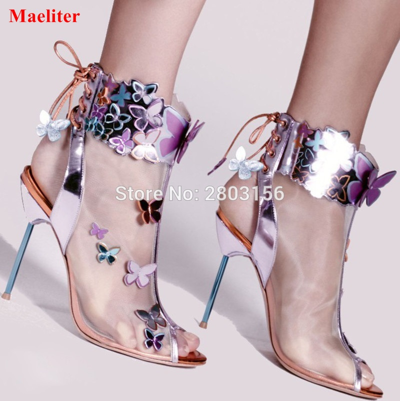 Newest Luxury Gladiator Sandals Boots Women Butterfly Peep Toe Mesh Summer Ankle Boots Sexy Lady High Heel Party Shoes sexy glossy gold caged party stiletto heel shoes summer ankle boots women peep toe strappy gladiator sandals women party pumps