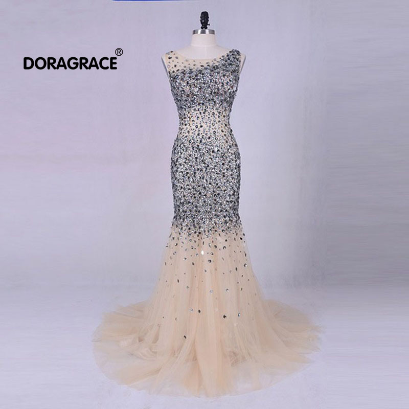 Doragrace Real Picture Luxury Crystal Evening Dresses Mermaid Prom Gowns Formal Party Custom Made