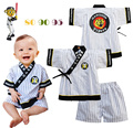 Baby Boy's Set Stripe Top+Shorts Tiger Pattern Japanese Kimono Summer Cotton Belt V-Neck Clothing Elastic Shorts