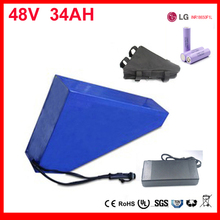 48v 34ah triangle lithium battery 48v ebike battery 48v 1000w li-ion battery pack for electric bicycle with Use LG 18650 cell